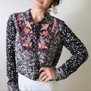 {anthro} FLOREAT Embroidered Floral Button Up